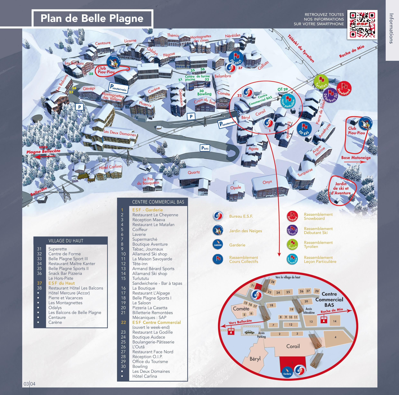 La Plagne Map Belle Plagne map   ESF Belle Plagne